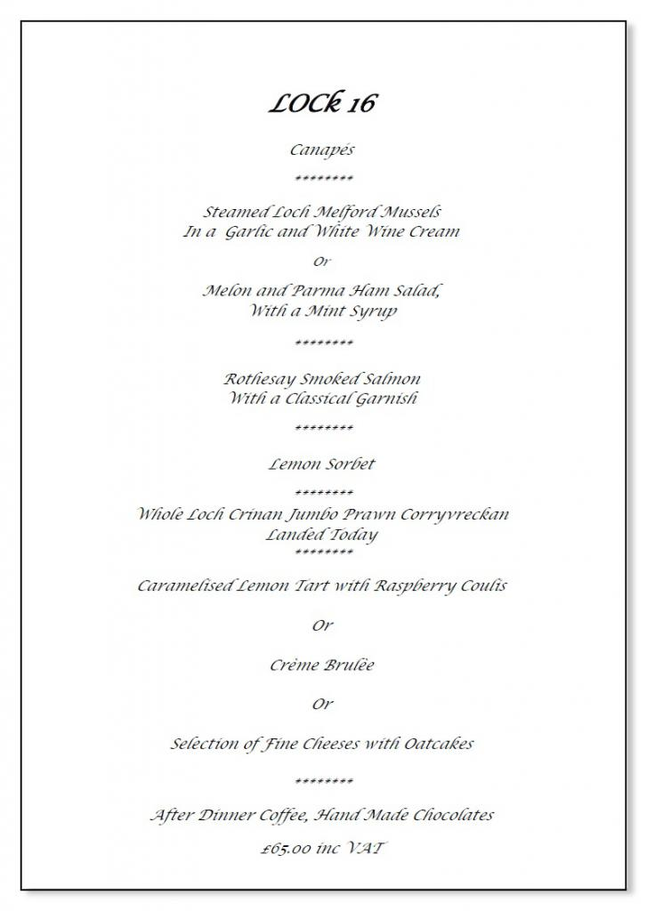 Westward Restaurant Menu - click link below to see more detail